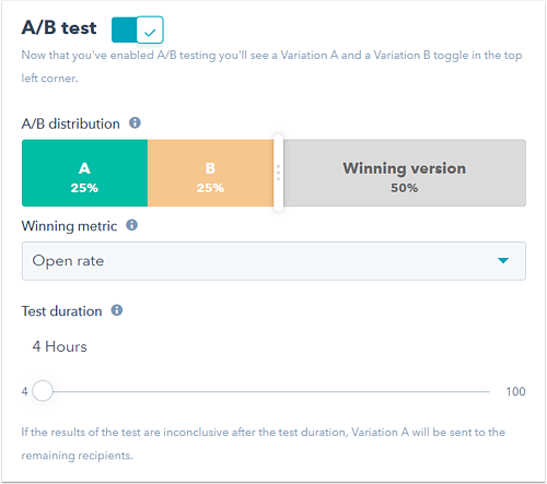 Hubspot AB Testing Emails